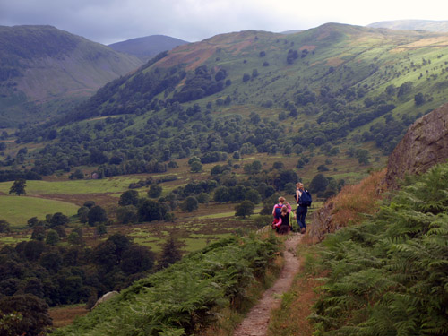 Family of walkers heading on down towards Aira Force