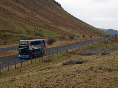 Two buses on Dunmail Raise