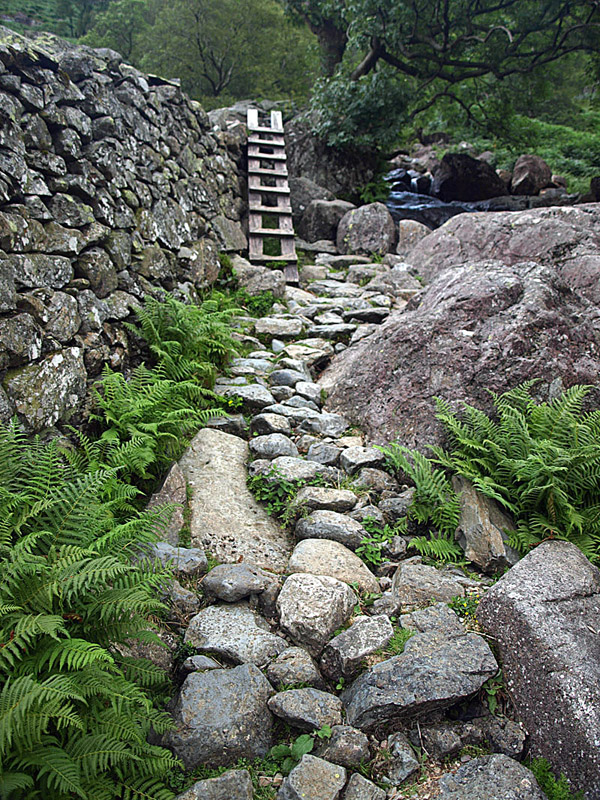 aslant ladder stile at Seathwaite