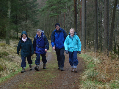 walkers beside Shoulthwaite Moss