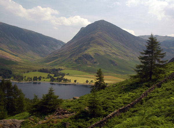 Fleetwith Pike from the path to Birkness Comb above Burtness Wood