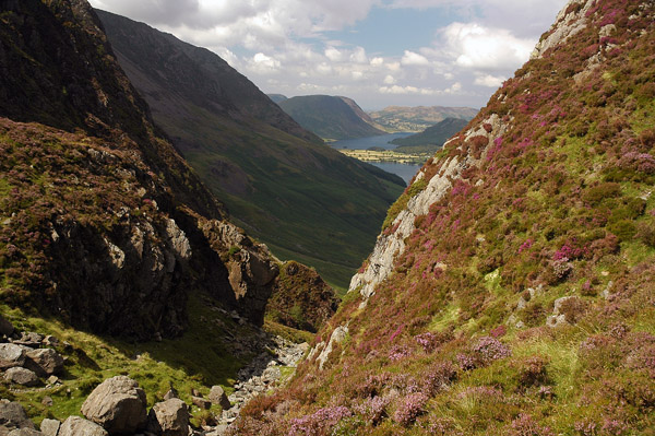 Sneak glimpse into the Buttermere vale from the top of the Black Beck ravine