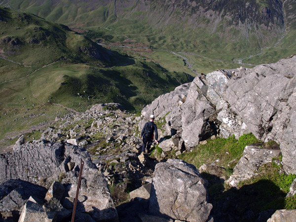 The descent of Kirkfell Crags on the ridge path to Black Sail Pass