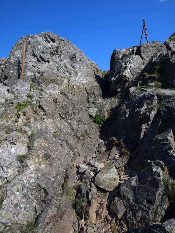 Scrambly section of the Kirkfell Crags path fighting to keep company with the old metal fence