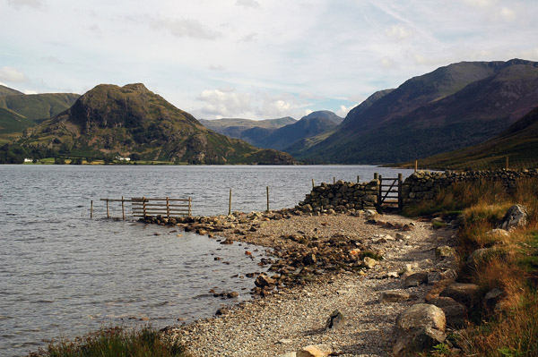 Shores of Crummock Water looking to Rannerdale Knotts