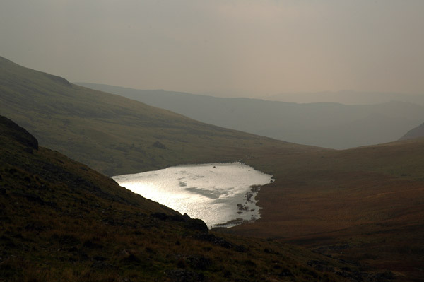 Looking back down on Greendale Tarn from the ridge