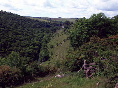 middle wooded part of Lathkill Dale from the northern edge path