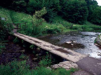 Clapper bridge at the foot of Holywell Lane