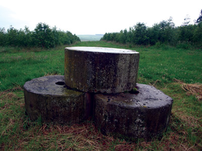 Triple stone plinth at the centre of Kenslow Knoll plantation