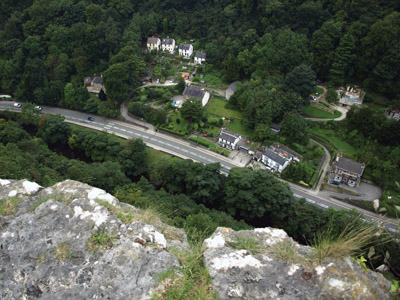 View straight down from the perilous lip of High Tor