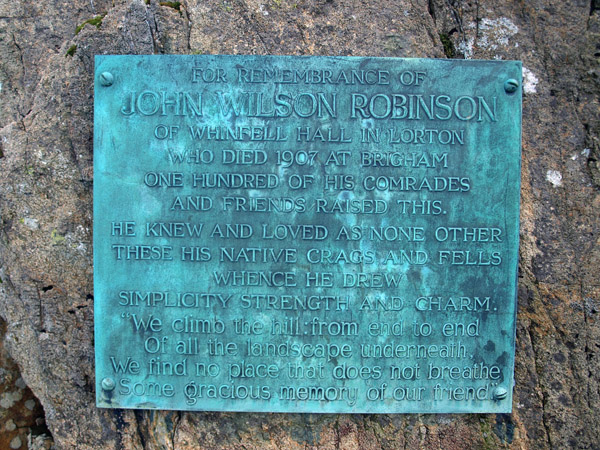 Plaque beneath Robinson's Cairn