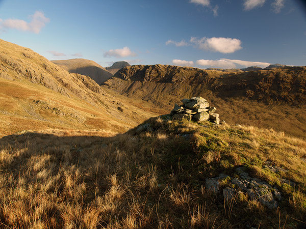 Old shepherds' cairn above Over Beck valley adjacent to Low Tarn