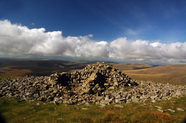 Seatallan summit cairn constructed from an ancient tumulus