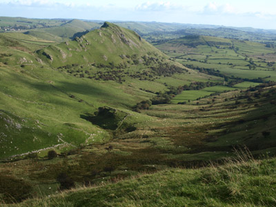 Swallow Brook valley and Chrome Hill from the summit of Hollins Hill