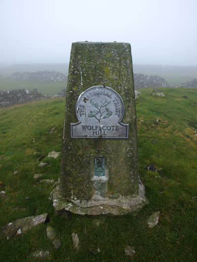 Ordnance Survey column on Wolfscote Hill