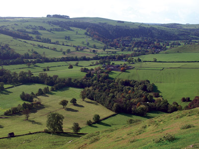 Ilam Vale from the south-west slopes of Thorpe Cloud