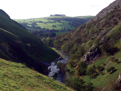 Dove Dale gorge looking to Hazelton Clump from northern shoulder of Thorpe Cloud