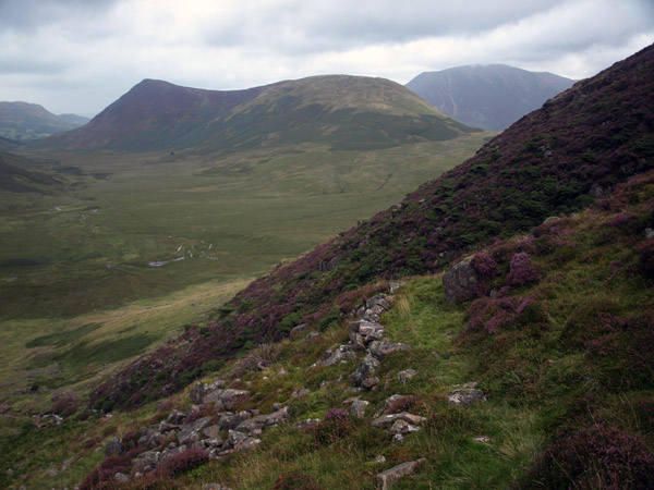 Old shepherds' drove leading steeply up by Gale Gill