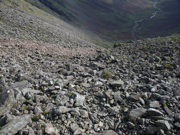 Scree path racing down into Mosedale from Wind Gap